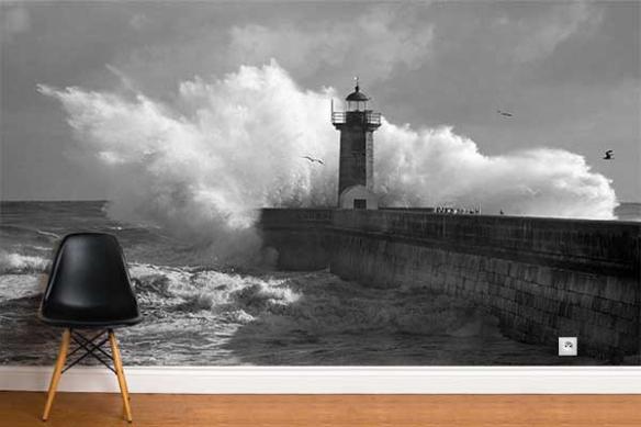 Papier peint trompe l'oeil phare marin