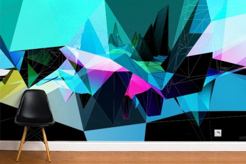 Papier peint design Topaze bleu