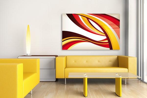 Toile abstraite rayures entrem l es izoa for Tableau jaune et gris