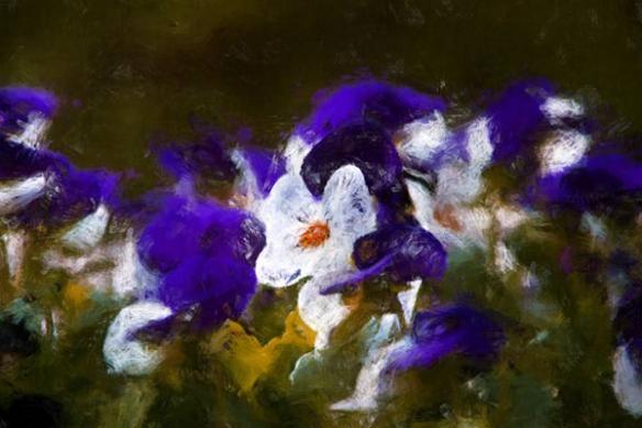 Tableau grand format fleur bain violine