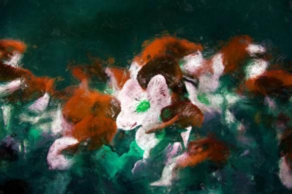 grand Tableau nature fleur bain violine