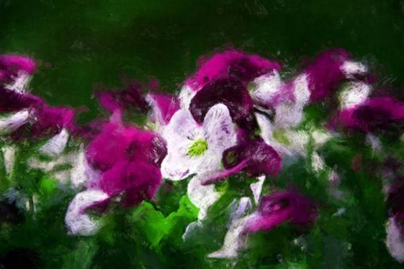 contemporain Tableau fleur bain violine