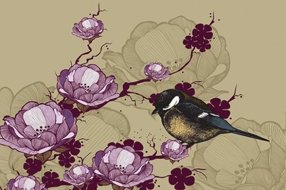 Papier peint moineau magnolia