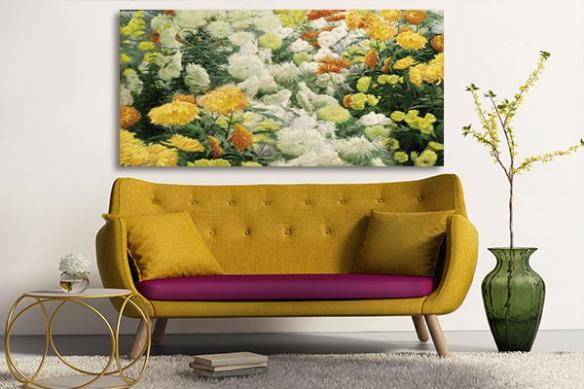 Décoration zen avec le tableau chrysanthèmes jaunes