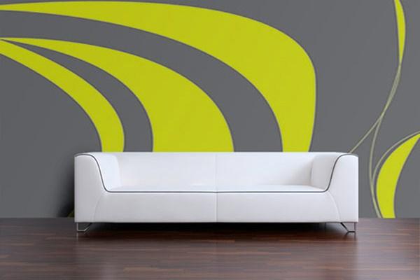 papier peint abstrait vert et gris izoa. Black Bedroom Furniture Sets. Home Design Ideas