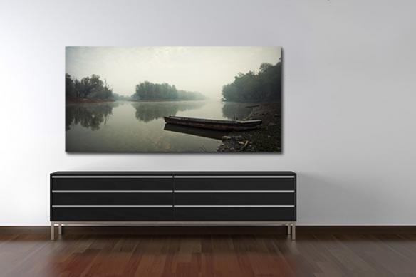 Tableau noir et blanc Barque de pêcheur