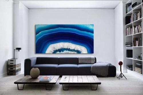 Tableau abstrait mandarine bleue izoa for Tableau bleu et gris