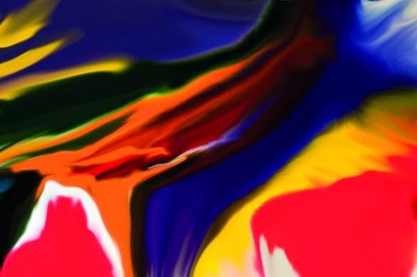 Tableau peinture abstrait Sunset