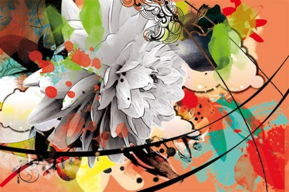 Tableau toile design fleurie