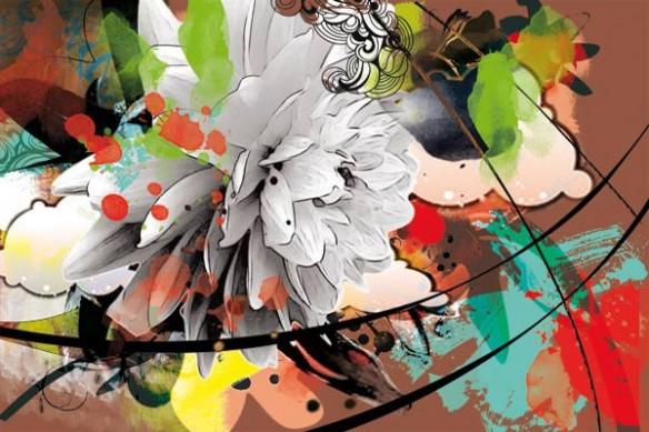 Tableau décoration Fleur murale d'été