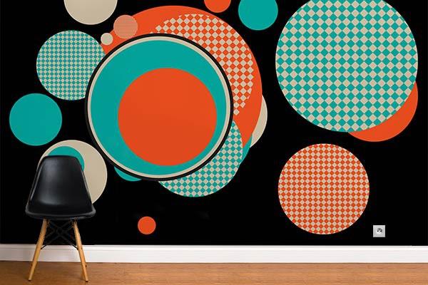Decoration murale vintage papier peint retro formica - Papier peint retro design ...