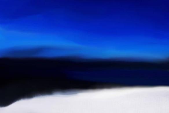 Tableau abstrait Acalmie bleu