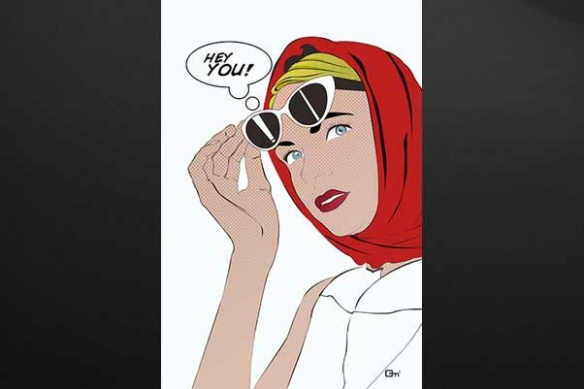 Tableau moderne Hey You par M Gazaix blanc