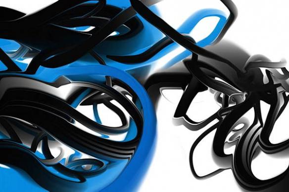 Papier peint moderne Trix bleu