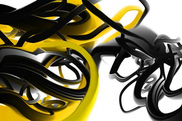 Papier peint moderne Trix jaune
