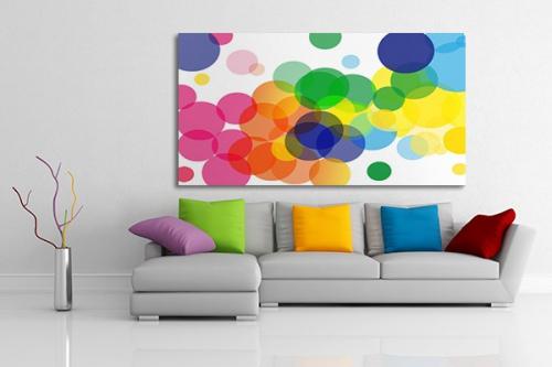 Tableau abstrait gouttes colorées