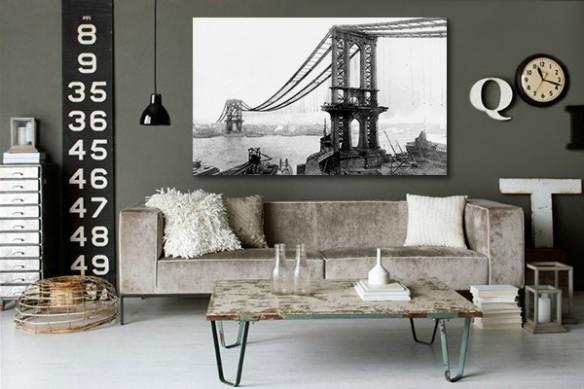 Tableau rétro pont de Manhattan