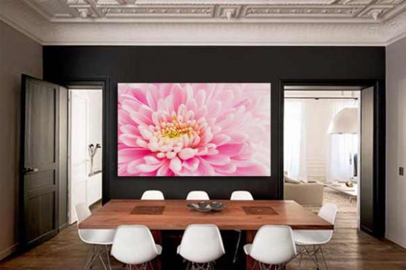 Tableau fleur chrysanthème rose