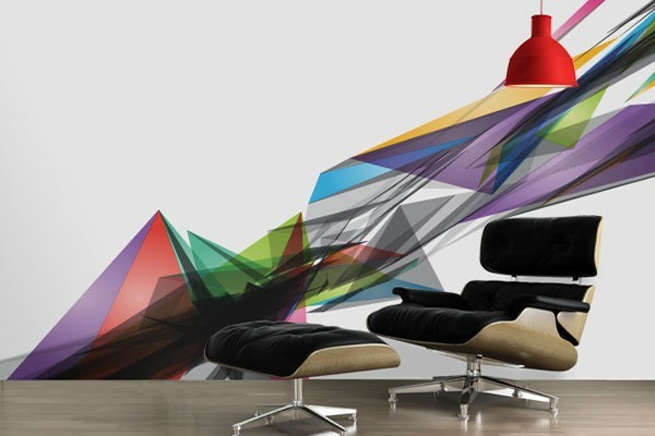 papier peint triangle de couleur izoa. Black Bedroom Furniture Sets. Home Design Ideas