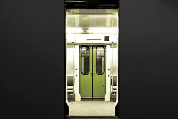 Sticker Porte Design Métro vert