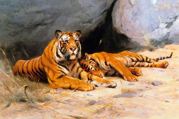 sieste du tigre  Tableau peinture