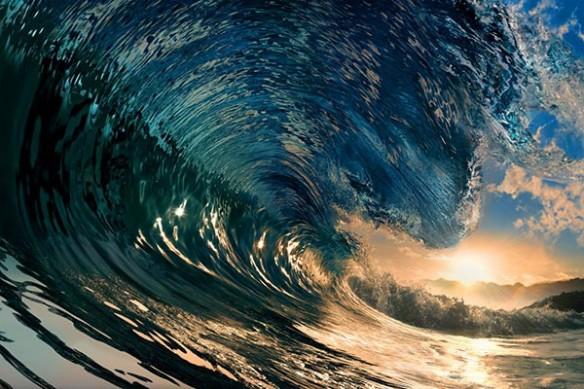 déco mur blue wave