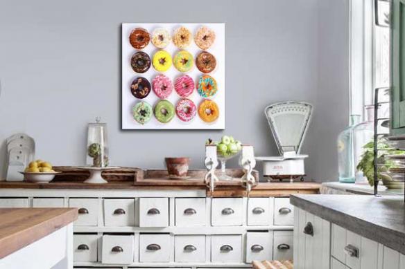 Tableau déco murale pâtisseries colorées
