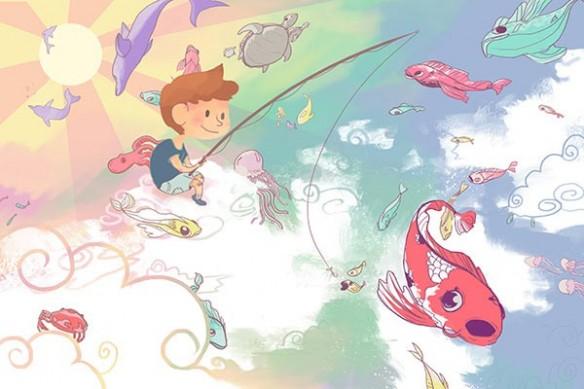 Tableau enfant Pêcheur nuages