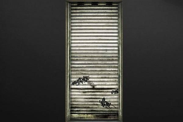 Stickers porte design rideau de fer izoa - Rideau de porte design ...