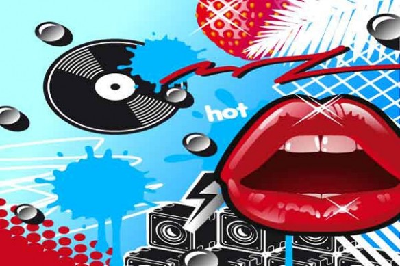 pop art déco bouche fraise bleu ciel