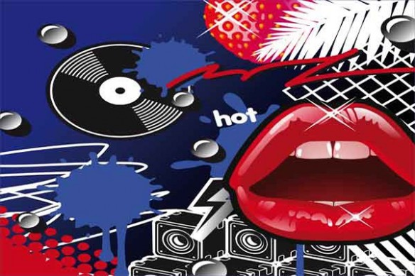 décoration moderne vinyl Lips bleu