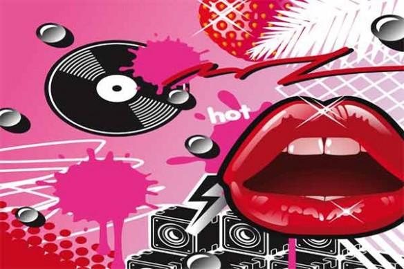 Tableau pop art vintage Lips rose