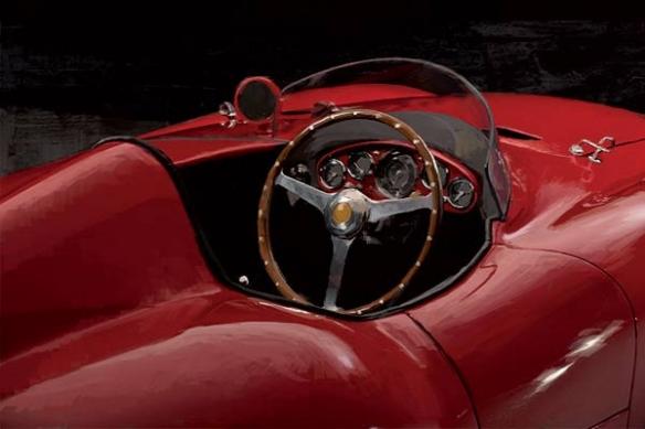 voiture rouge retro papier peint