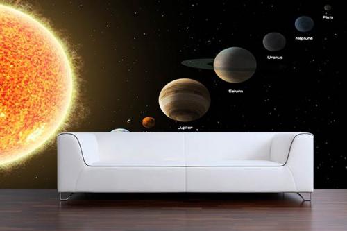 Papier peint trompe oeil système solaire