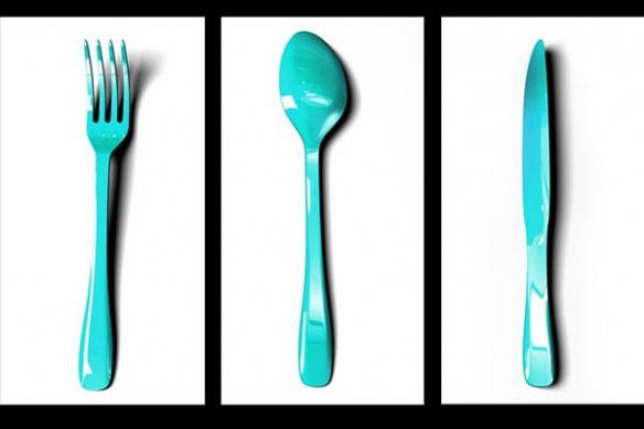 Tableau cuisine moderne fourchette cuillere couteau
