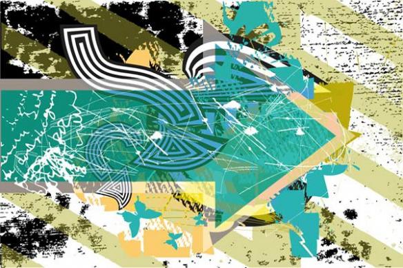 poster mural abstrait  Follow me bleu ciel