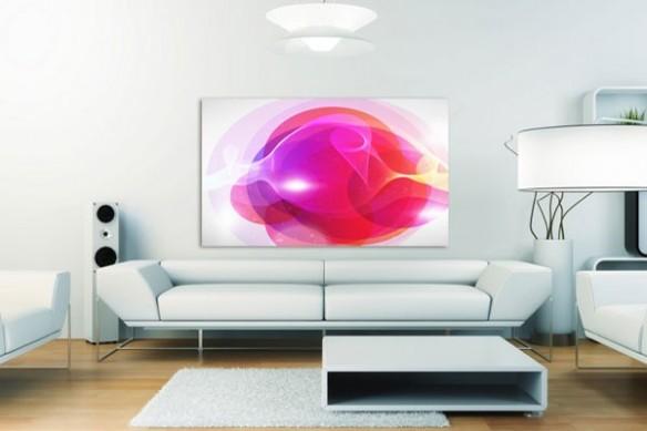 Tableau abstrait coloré rose
