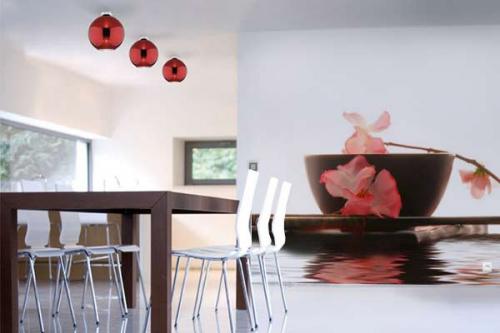 déco mural bol et baguettes avec  Fleur de Riz