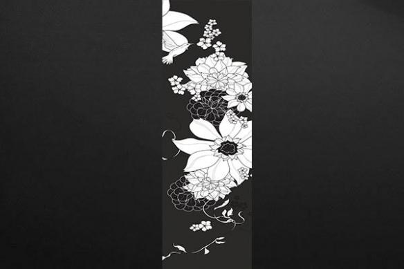 Papier peint déco zen Colibri noir