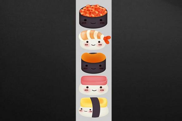 Papier peint gris design sushi
