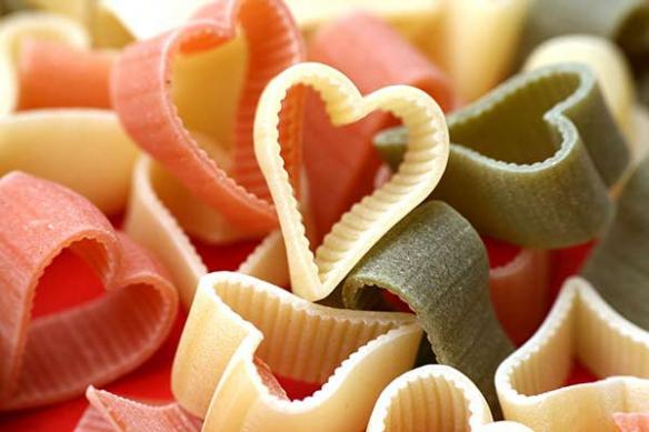 tableau déco cuisine Pâtes en Coeur