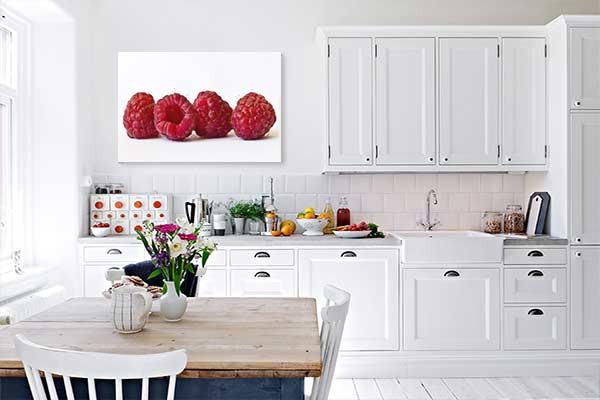 Tableau d co murale quatre framboises izoa - Decoration murale cuisine ...