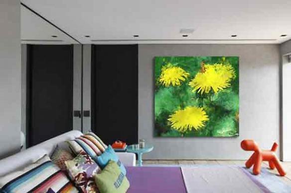 Tableau décoration Pissenlit jaune