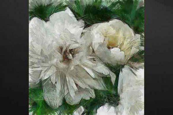 Tableau peinture fleur Pivoine