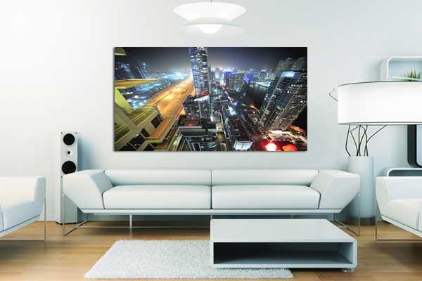 tableau xxl ville de lumi res izoa. Black Bedroom Furniture Sets. Home Design Ideas