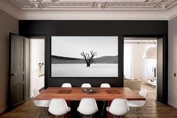 Toile grand format Arbre noir et blanc