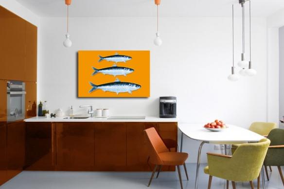 Tableau cuisine design sardines