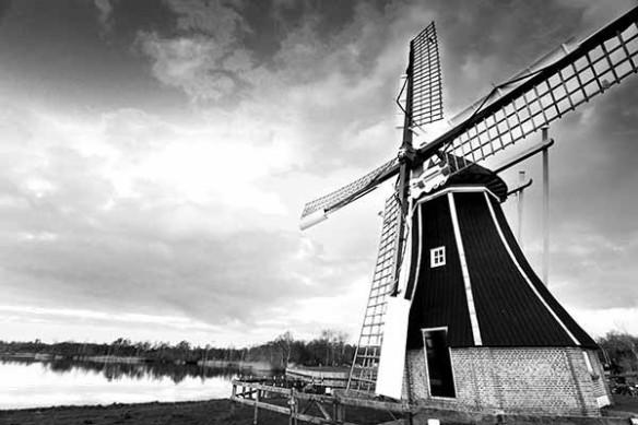 Tableau noir et blanc Moulin Amsterdam