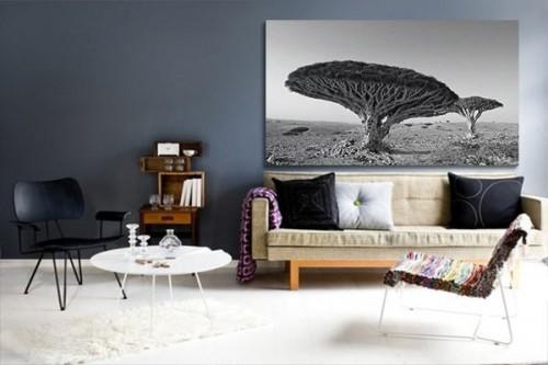 Tableau noir et blanc savane
