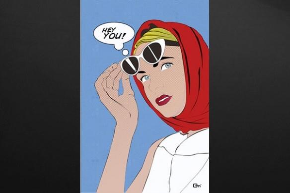 Tableau design   moderne Hey You bleu